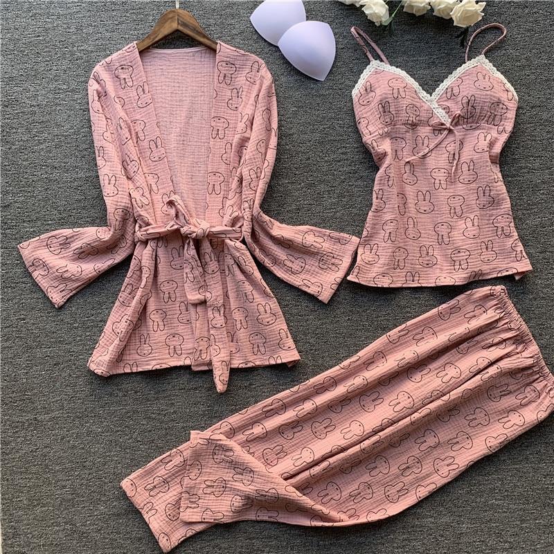3 Pcs Pure Cotton Pajamas Long Sleeve Women Cartoon Spaghetti Strap Trousers Cardigan Set Sleepwear