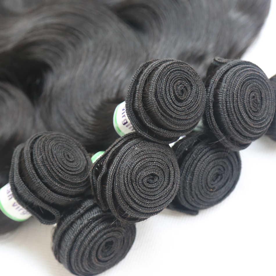 8-28 30 inç brezilyalı saç örgü vücut dalga İnsan saç 3 4 demetleri ile dantel Frontal Remy saç orta oranı