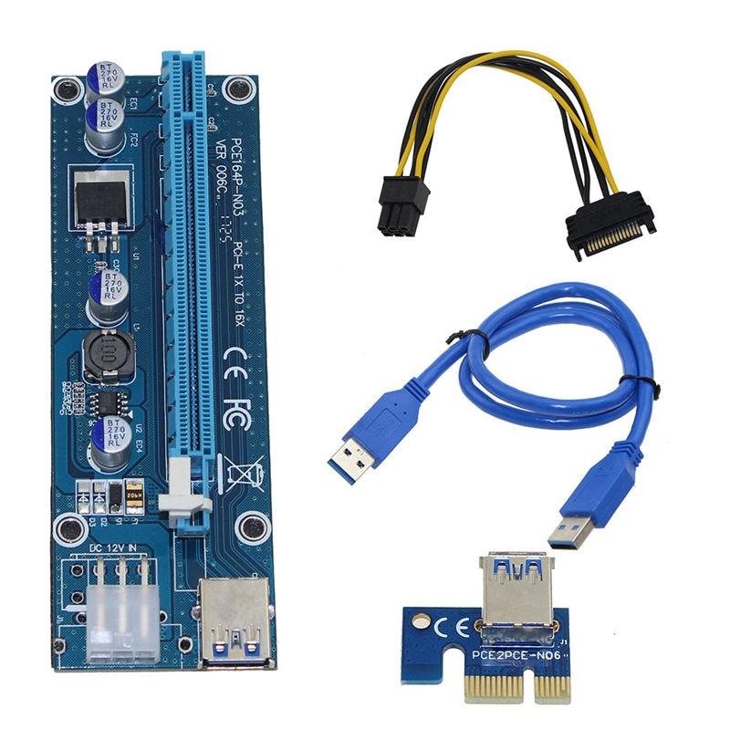 Pci-E elevador Pci E Express 1X a 16X tarjeta elevadora Usb 3,0 Pci-E Sata a 6Pin Cable de alimentación para Btc Bitcoin Miner