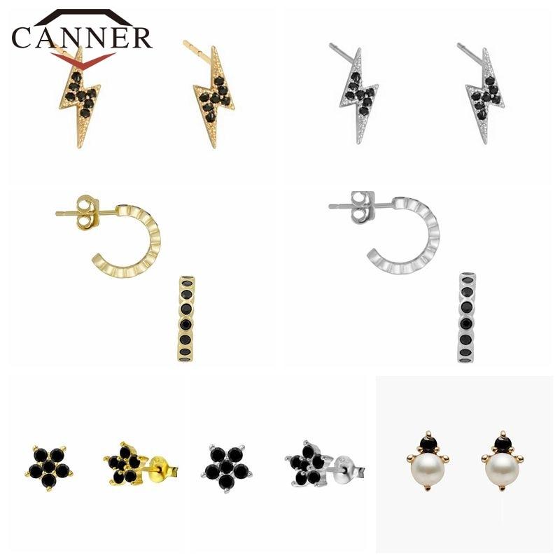 CANNER 925 Sterling Silver Black Crystal Zircon Stud Earrings For Women mini Piercing Earring Fashion Earings Jewelry pendientes