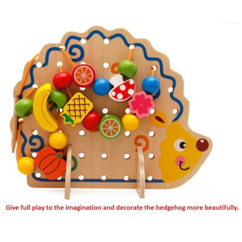 Learning Education Wooden Toy 82 Pcs Hedgehog Fruit Beads Montessori Oyuncak Educational Toy For Children