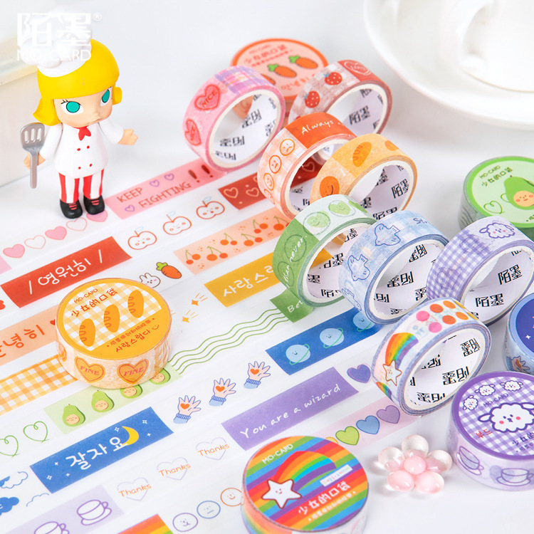 SIXONE Cartoon Fruit Cute Girl Hand Tear Washi Tape Korea Student Kawaii Diary Notebook Hand Account Decorative Tapes Stationery