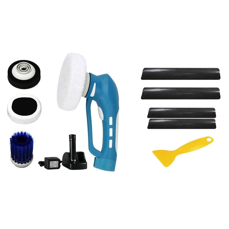 Car Cleaner Machine Waterproof Tool Set US Plug with 4X Car Door Plate Sill Scuff Cover Anti Scratch Sticker