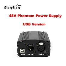48V Karaoke BM800 Mikrofon fantom güç kaynağı USB XLR top kablosu stüdyo Mikrofon Phantom güç BM 800 kondenser mic