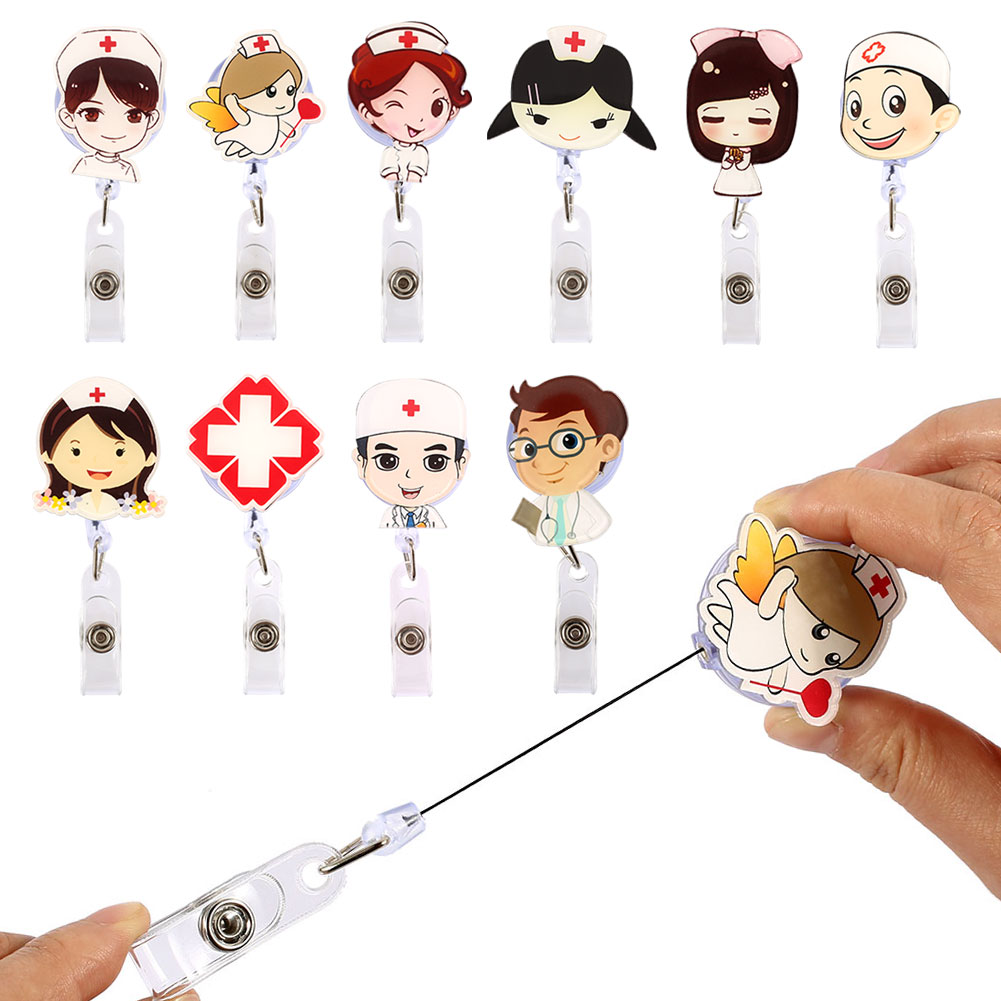 Badge Holder Document Holder Badge Buckle Retractable Acrylic Student Card Kids Stationery Nurse Office Accessories Key Reel