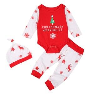 3 szt. Świąteczne ubrania dla dziewczynek z długim rękawem Romper Top nadruk reniferów spodnie dla niemowląt maluch ubrania dla dziewczynki zestaw ubrań dla dzieci