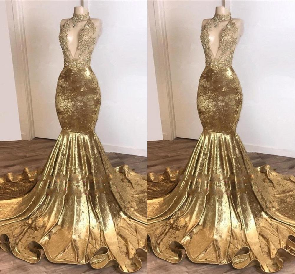 Sexy Gold Mermaid Sequins Prom Dresses African High Neck Open Back Evenig Gown Cheap Formal Party Dress Robe De Soriee