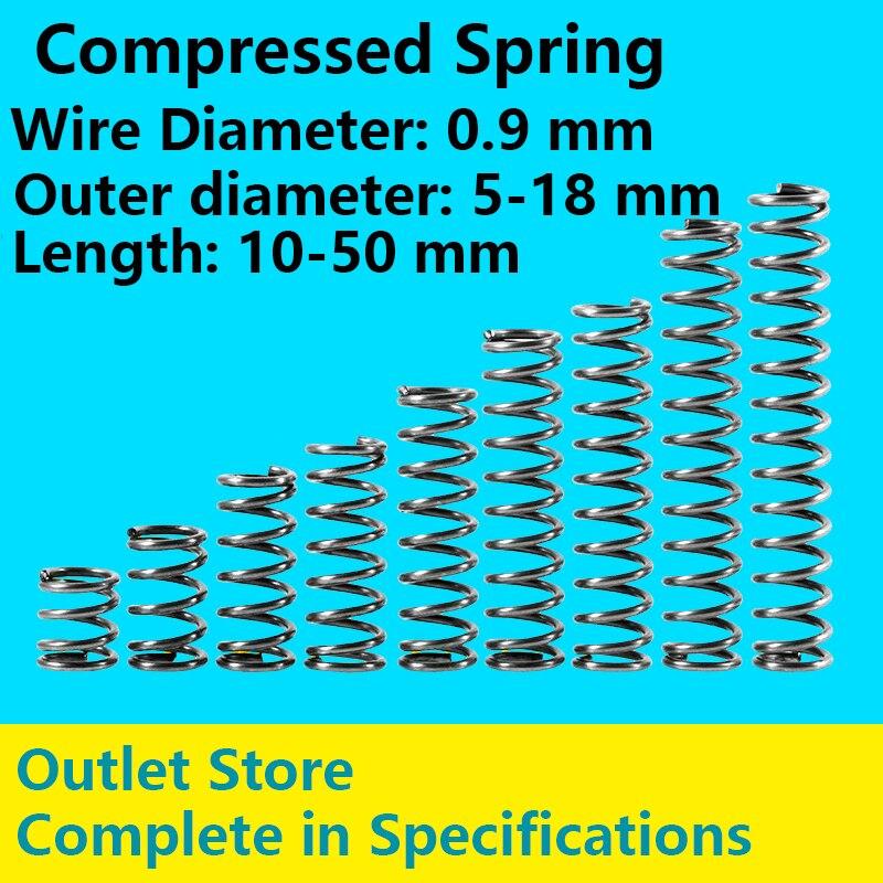 Outlet Store Compressed Spring Return Spring Rotor Pressure Spring Line Diameter 0.9mm, External Diameter 5-18mm 10Pcs