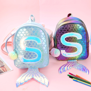 Image 3 - Symphony Mermaid Laser Backpack 3D Fish Scale Personality Fashion Backpack Cute Girl Child Cartoon Small School Bag GB17
