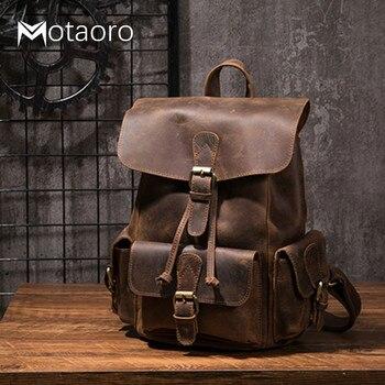 Crazy Horse Leather Shoulder Bag Retro Handmade Ladies Backpack Shoulder Diagonal Travel College School Bags For Teenage Girls
