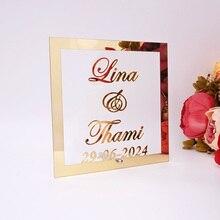 Пользовательские Свадебные пары имя Дата акриловая рамка для зеркала Добро пожаловать гостей слово знак юбилей вечерние украшения