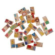 28 шт Деревянные домино соответствующие изображения игры для детей Детская забава игра игрушка
