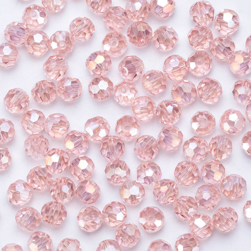 3 4 6 8 MM Transparent Round Glass Austria Faceted Crystal Bead For DIY Necklace Jewelry Making  Accessories Colorful Ball Beads