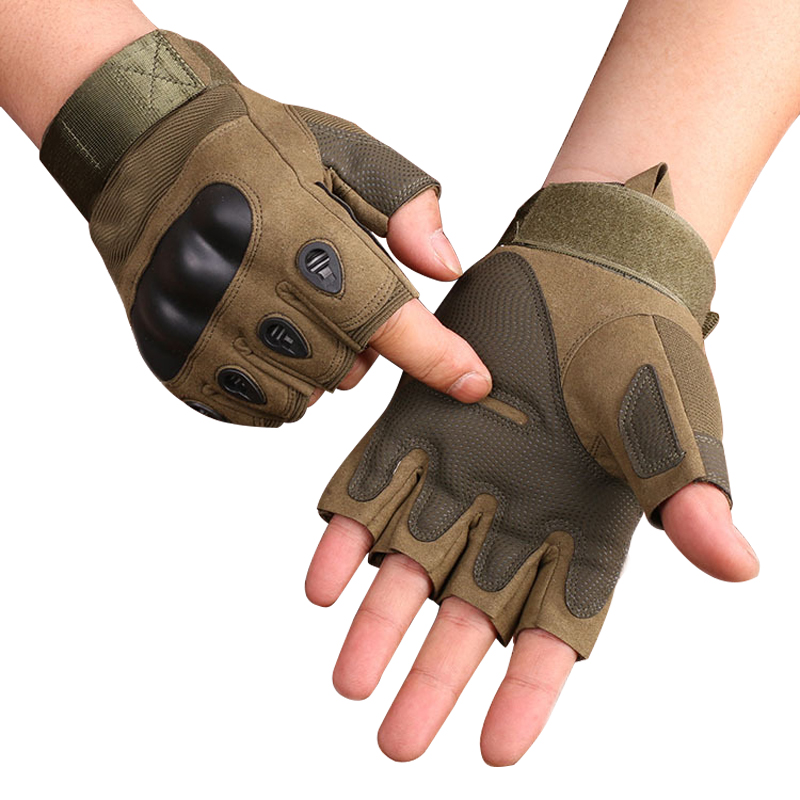 Outdoor Motorcycle Gloves Hard Knuckle Half Finger Protective Gloves For Motorbike Motocross Military Tactical Hunting Cycling