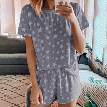 Star Print Women Sleepwear Set Summer O-Neck Short Sleeve Shorts Pajamas Sets Female Loose Casual Ladies Home Clothes