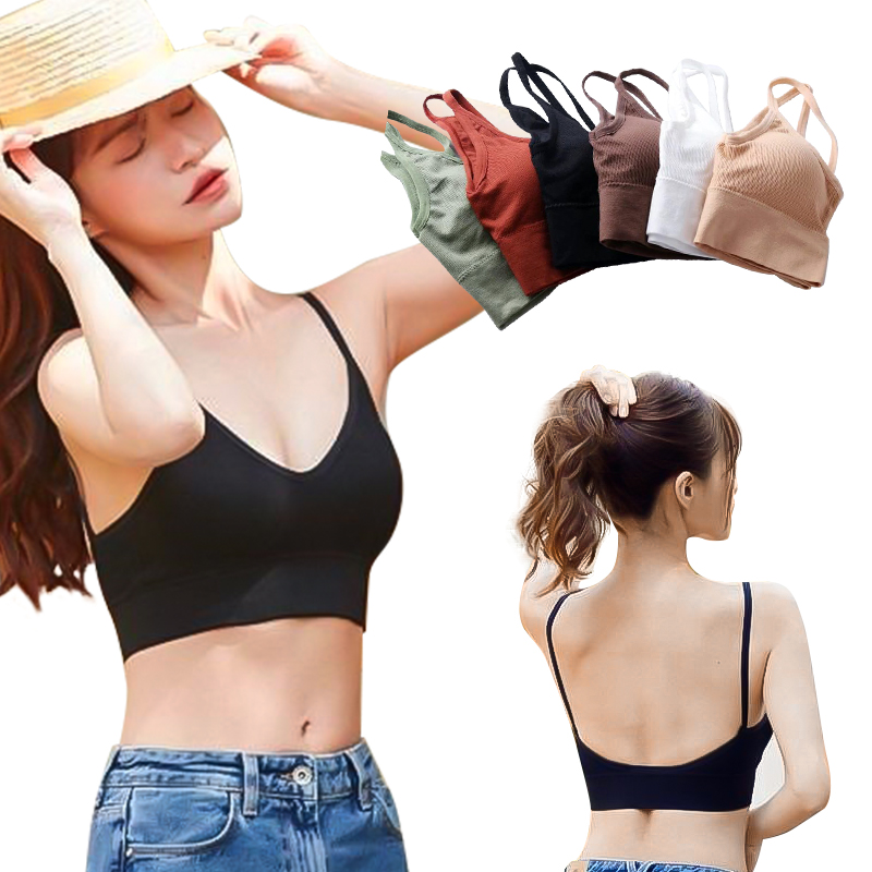 Women Strappy Bralette Female Ring-Free Cup/Cotton Chest Vest Comfortable Underwear Hollow Out Bra