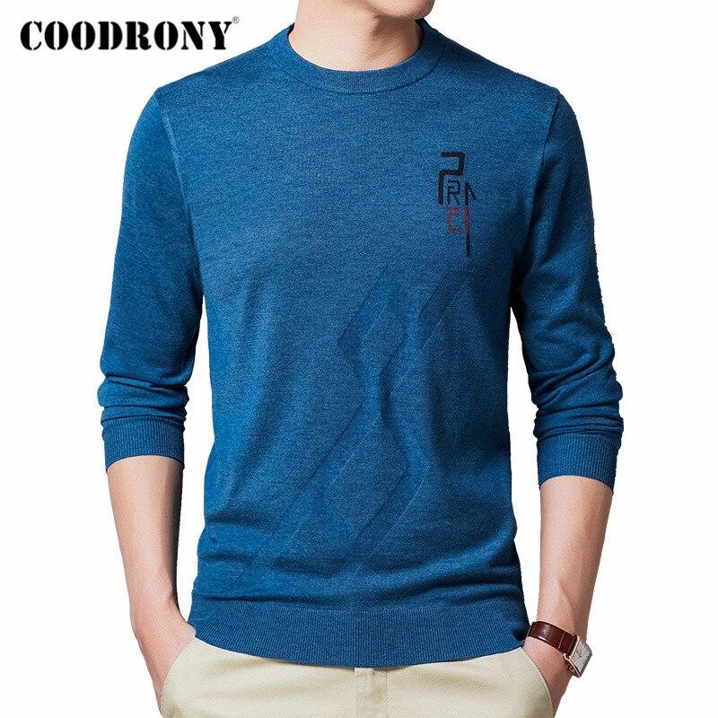 Coodrony marca camisola masculina primavera outono casual o-pescoço pulôver roupas masculinas moda fina malhas puxar homme algodão camisa c1030