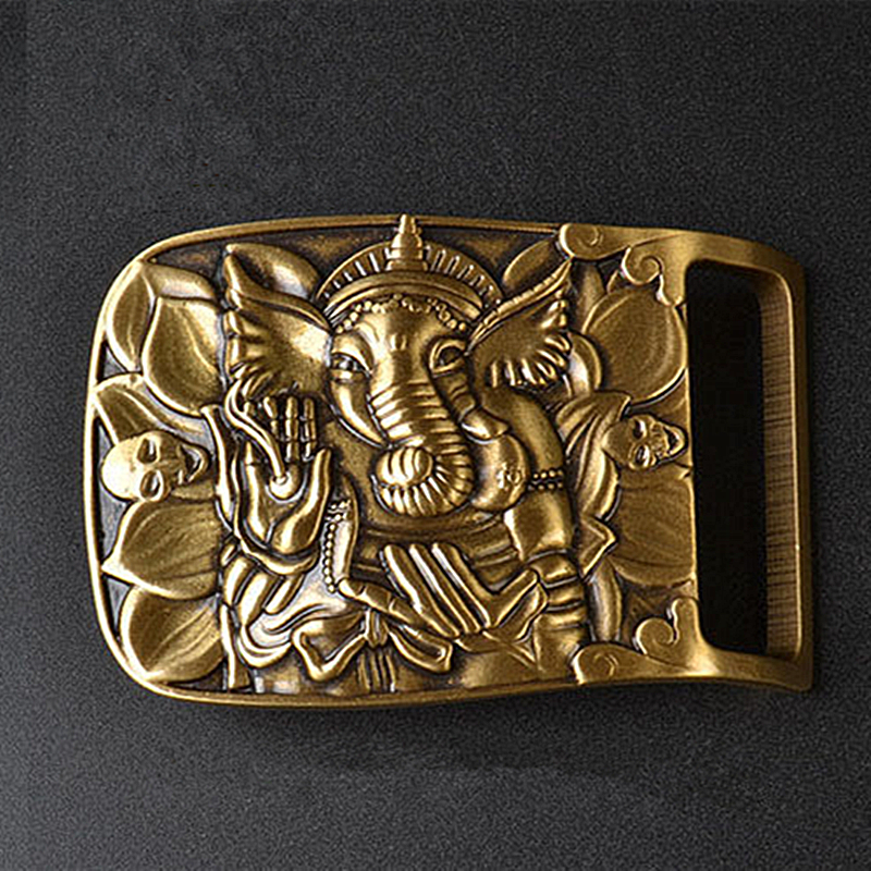 Vintage Antique Pure Brass Copper Big Belt Buckle Indian Elephant Buddha Western Cowboy Mens Fashion Gift