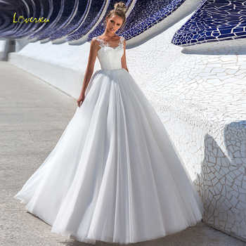 Loverxu Simple Scoop A Line Wedding Dresses Alluring Appliques Cap Sleeve Lace Up Bride Dress Sweep Train Bridal Gowns Plus Size - DISCOUNT ITEM  30% OFF All Category