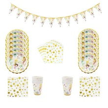 Mermaid Party Disposable Tableware Plates Cups Napkins Banner for Kids Birthday Party baby Shower Decoration Supplies space party theme disposable tableware paper cups napkins tablecloths birthday decorations for children party supplies