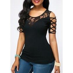 Популярная модная Милая Летняя женская открытая футболка с круглым вырезом, Лоскутная Кружевная футболка с коротким рукавом, повседневные ...