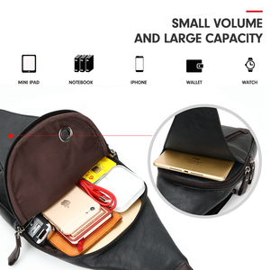 Image 4 - VICUNA POLO Famous Brand Theftproof Magnetic Button Open Leather Mens Chest Bags Fashion Travel Crossbody Bag Man Messenger Bag