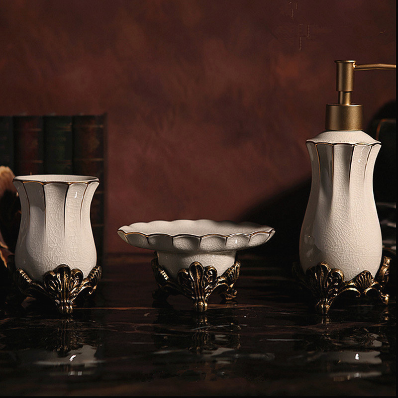 luxury white soap dispenser set