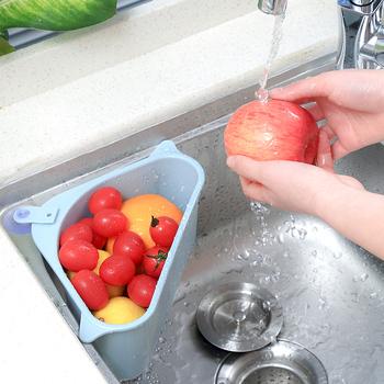 Nowy 2020 przyssawka trójkątne sitko do zlewu spustowy warzywa owoce gąbka Rack narzędzie do przechowywania kuchnia trójkątny filtr do zlewu tanie i dobre opinie