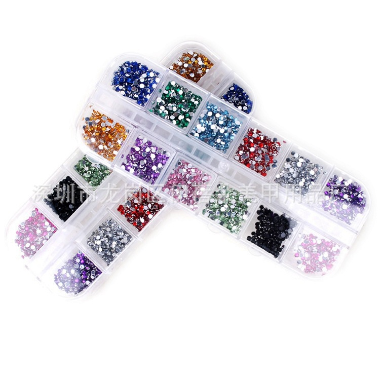 Nail Ornament Nail Sticker 12 Color Acrylic Colorful Crystals. Manicure Diamond Manicure Wholesale Nail Crystal Stickers