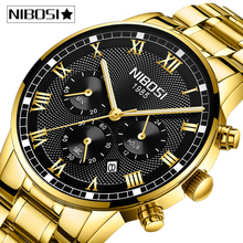 NIBOSI reloj deportivo para hombre, de cuarzo, resistente al agua, de negocios, de acero, Masculino