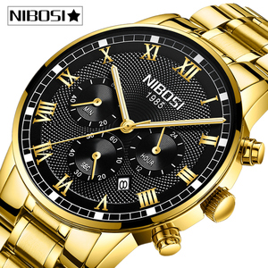 Image 1 - Relogio Masculino NIBOSI Männer Uhren Mode Sport Quarz Uhr Männer Uhr Top Marke Luxus Voller Stahl Business Wasserdichte Uhr