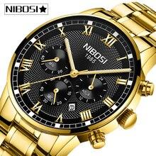 レロジオmasculino nibosi腕時計メンズファッションスポーツクォーツ時計メンズ腕時計トップブランドの高級フル鋼ビジネス防水時計