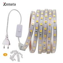 "110V 220V LED רצועת אור SMD5050 60 נוריות/m גמיש LED קלטת עמיד למים LED סרט LED אור רצועת עם האיחוד האירופי ארה""ב תקע מתג"