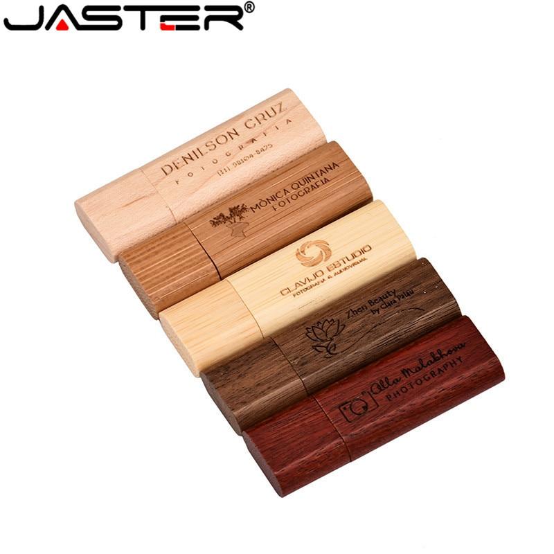 JASTER 5 Colors Custom Made 64GB Bamboo Walnut Wooden LOGO Usb Flash Drive 4GB 8GB 16GB 32GBusb 2.0 Photography Best Gift