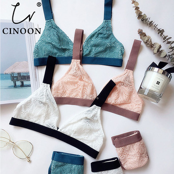 CINOON French Ultrathin Bra Brief Set Deep V Female Victoria Lingerie Woman Intimates Patchwork Lace Sexy Bras Set Underwear 1