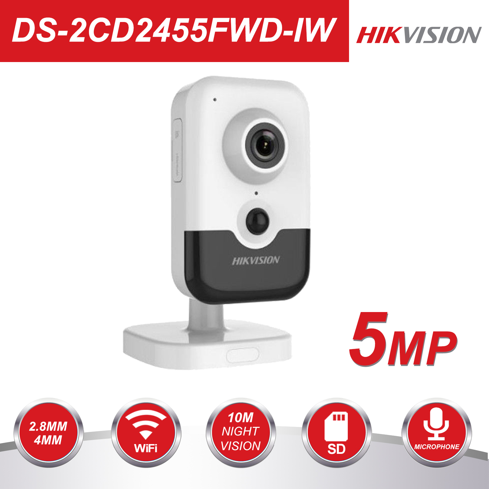Hikvision Wireless IP Camera DS 2CD2455FWD IW 5MP Home Security Cube WiFi Camera Built in microphone