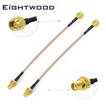 Eightwood 2 Stuks Sma Vrouwelijke Schot Mount Naar Sma Mannelijke RG316 Antenne Verlengkabel 12 Inch 30Cm Voor Sdr usb Dongle Ontvanger