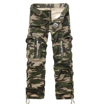 Męskie spodnie wojskowe wiosna taktyczne Baggy spodnie wojskowe multi-pocket pranie luźne spodnie Cargo męskie spodnie ogrodniczki Plus rozmiar 40 tanie i dobre opinie IGLDSI Cargo pants Mieszkanie COTTON spandex Kieszenie 28 - 40 Pełnej długości 1201 W stylu Safari Midweight Suknem Zipper fly