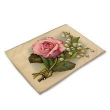 Подставки с розами Модный цветочный узор Настольный коврик кухонная