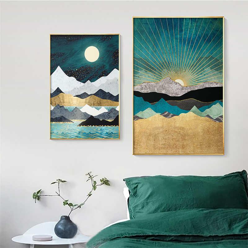 Nordic Abstrak Dinding Seni Geometris Whale Pemandangan Gunung Kanvas Lukisan Poster dan Cetakan Dinding Gambar untuk Ruang