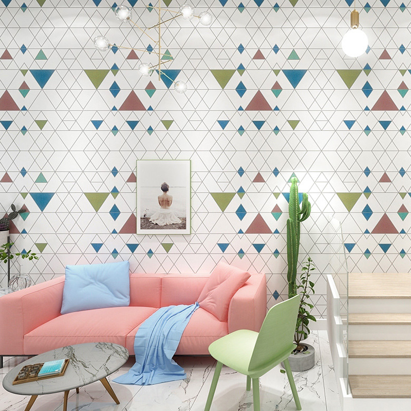 Geometric Pattern Plaid Wallpaper INS-Style Living Room Bedroom Nordic Clothing Store Restaurant Non-Self-Adhesive PVC Wallpaper