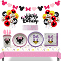 Disney Minnie Mouse Party Birthday Party Decorations 8 People Disposable Plate Napkin Cup Cake Decoration Banner Supplies Sets