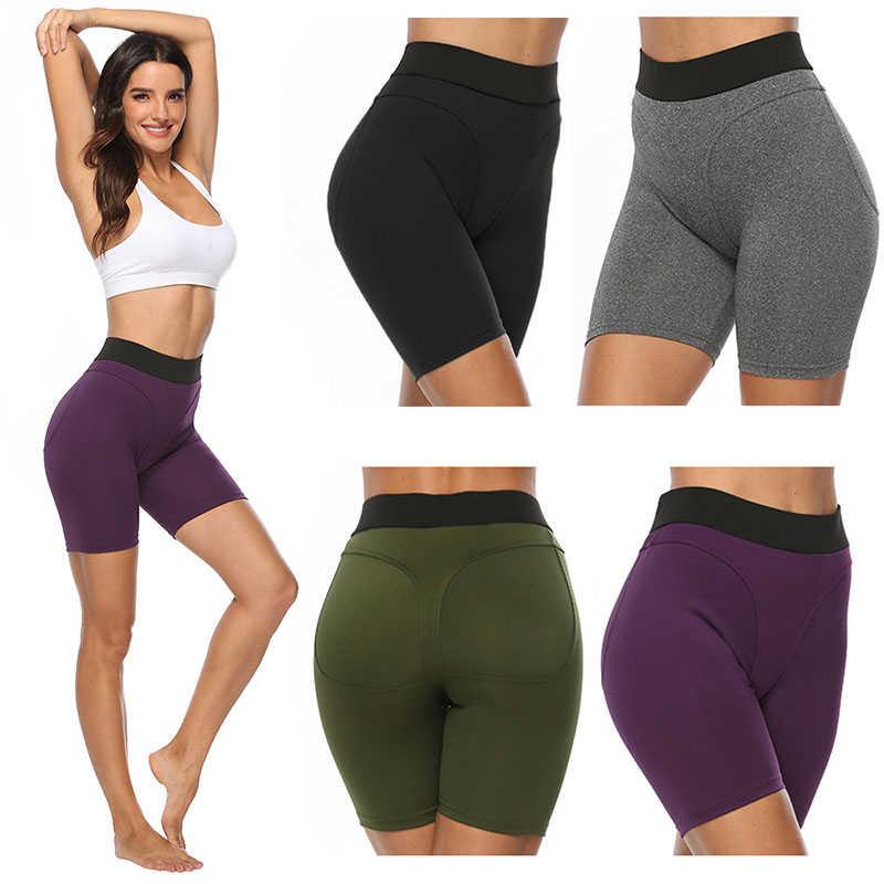 Kobiety elastyczne Push Up joga spodenki nowe stałe Patchwork spodenki gimnastyczne trening Fitness krótki Legging legginsy sportowe Deportivo Mujer