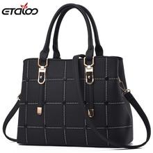 PU Leather Large Capacity Woman Handbag Grid Shoulder Bag Fashion Casual  Designer Crossbody Bag Ladies PurseBag Women's Bag