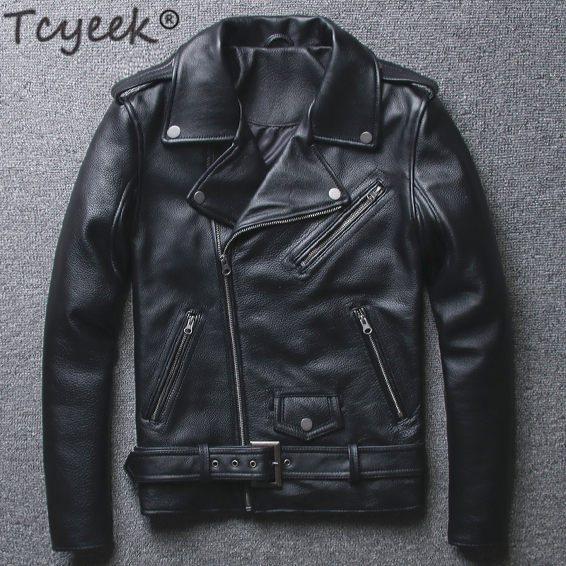 Tcyeek 100% Real Sheepskin Coat Men Autumn Winter Clothes 2019 Streetwear Genuine Cow Leather Jacket Fit Moto Biker Coats LW2095