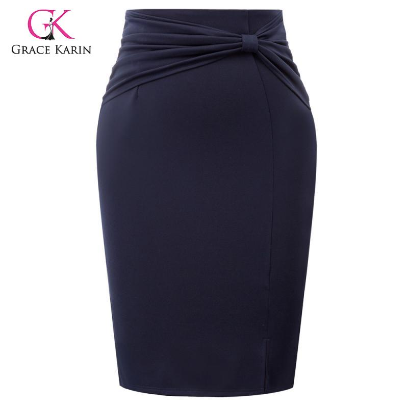 Grace Karin Bowknot Pencil Skirt Women High Waist Business Party Office Work Bodycon Skirt Knee Length Hips-Wrapped Midi Skirts image