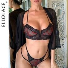 Ellolace Sexy Fashion Lace Underwear Set Women Embroidery Transaprent Bra Brief Sets 2019 Mesh Two 2 pcs Lingerie