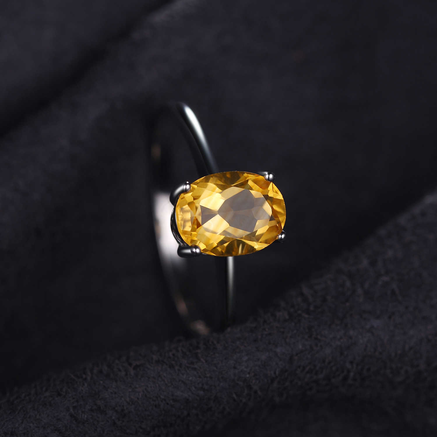 JewelryPalace Genuine Citrine Ring Solitaire 925 Sterling Silver Rings for Women Engagement Ring Silver 925 Gemstones Jewelry