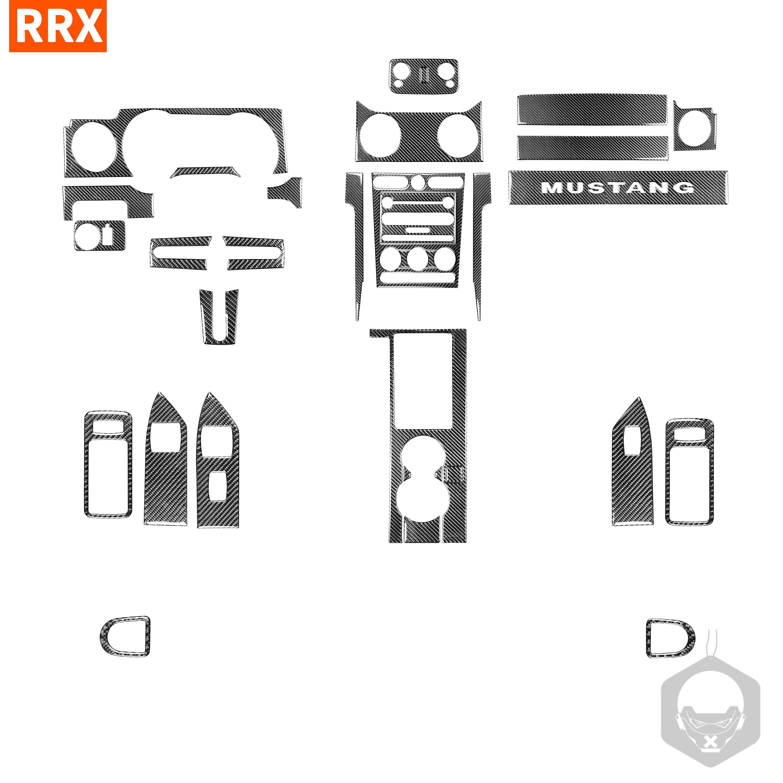 For Ford Mustang GT 2005-2009 S197 Carbon Fiber Sticker Center Control Steering Wheel Gear Shift Headlight Horn Car Accessories
