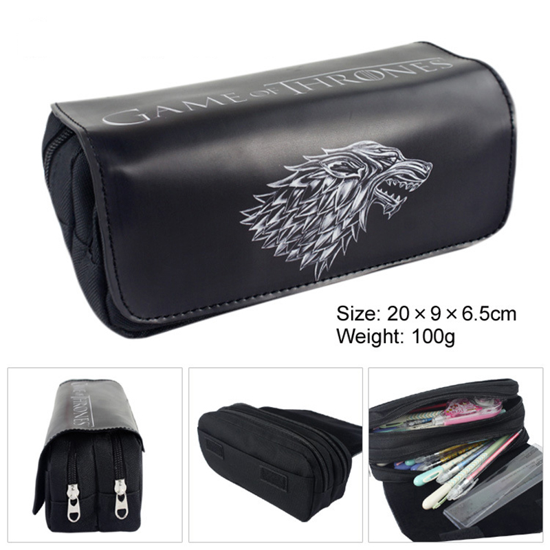 1PCS Real Papeleria 5 Anime Series School Spenciltudents Pu Large Capacity Double Zipper Pencil Case Stationery Boys Girls Fine